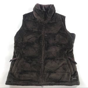 Athleta Goose Down Feather Vest Brown Small